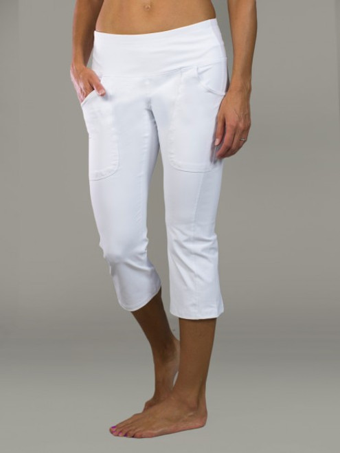 JoFit Ladies Live-In Capri Pants - Tequila Sunrise (White)