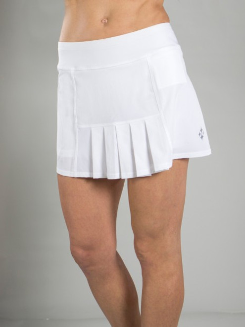 JoFit Ladies & Plus Size Dash Pleated Tennis Skorts - Cosmopolitan/Bali (White)
