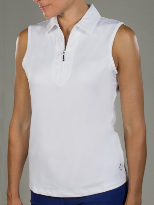 JoFit Ladies & Plus Size Jacquard Sleeveless Tennis Shirts - Cosmopolitan/Kona (White)