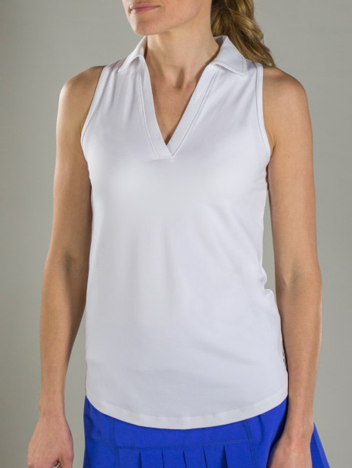 JoFit Ladies Cutaway Tech Sleeveless Tennis Polo Shirts - Cosmopolitan/Kona (White)