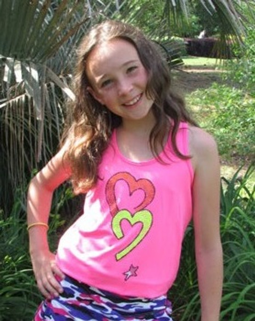 Lucky in Love Junior Girls Tennis Tanks - Two Hearts (Shocking Pink)