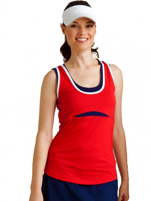 CLEARANCE JoFit Ladies Jo Dry Jersey Kenzie Tennis Tank Shirts - Red