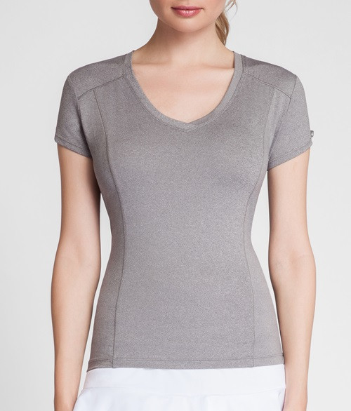Tail Ladies Lacasi Short Sleeve Tennis Tops - ESSENTIALS (Frosted Heather)
