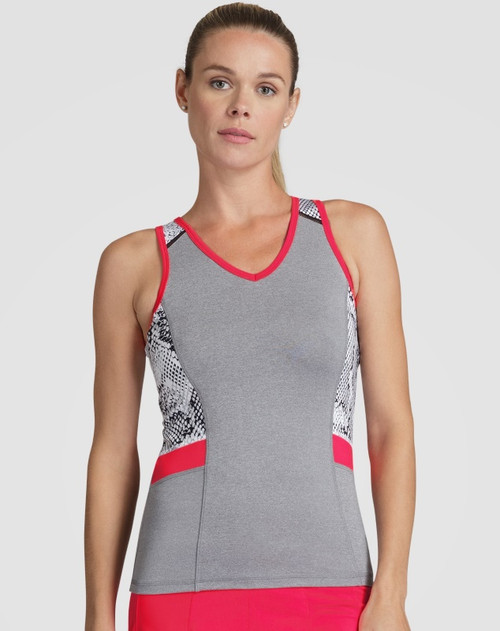 SALE Tail Ladies & Plus Size Alicia Tennis Tank Tops - Red Hot (Frosted Heather)
