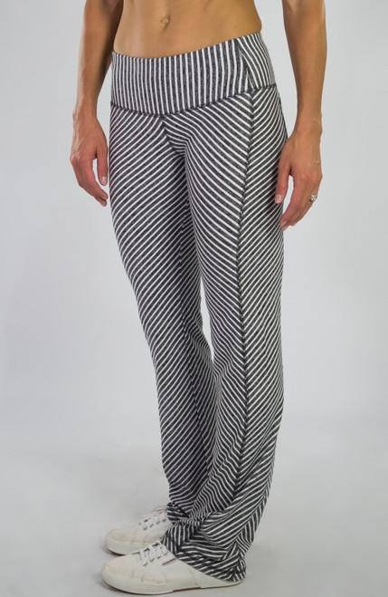 JoFit Ladies Packable Pull On Fitness Pants - Sangria (Carbon Diagonal Stripe)