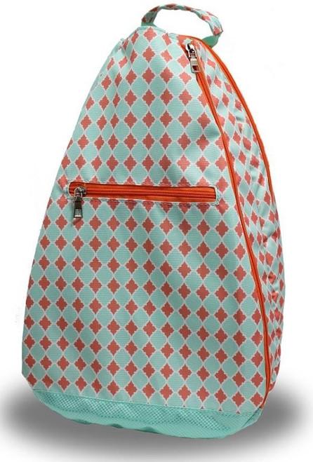 SALE NTB Ladies Tennis Backpack - Sadie (Coral & Aqua Diamond)