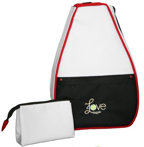 40 Love Courture Ladies Elizabeth Tennis Backpacks - Vintage Style Crisp White with Black Lining