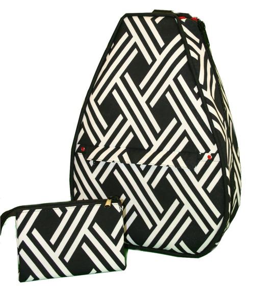 40 Love Courture Ladies Elizabeth Tennis Backpacks - Modern Weave with Red Lining