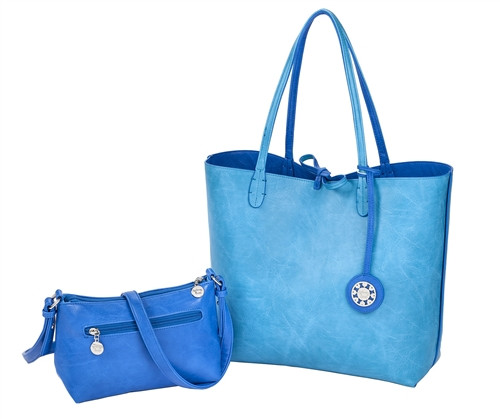Sydney Love Ladies Reversible Tote Bag with Inner Pouch - Cobalt & Turquoise