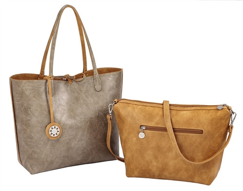 Sydney Love Ladies Reversible Tote Bag with Inner Pouch - Camel & Cement