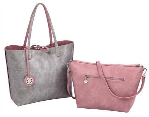 Sydney Love Ladies Reversible Tote Bag with Inner Pouch - Pink & Silver