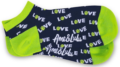 Ame & Lulu Ladies Meet Your Match Socks - Green Navy Love