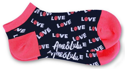 Ame & Lulu Ladies Meet Your Match Socks - Pink Navy Love