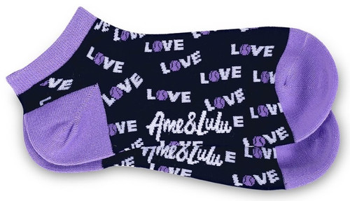 Ame & Lulu Ladies Meet Your Match Socks - Purple Navy Love