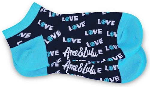 Ame & Lulu Ladies Meet Your Match Socks - Turquoise Navy Love