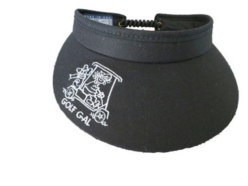 Town Talk Golf Gal Ladies Tennis Visors (w/Twist Cord) - Black/White