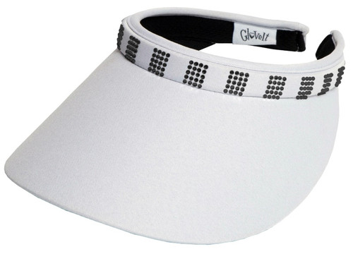 Glove It Ladies Bling Tennis Visors (Comfort Clip) - White Bling Crystal Squares