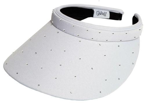 Glove It Ladies Bling Tennis Visors (Comfort Clip) - White Bling Slide On