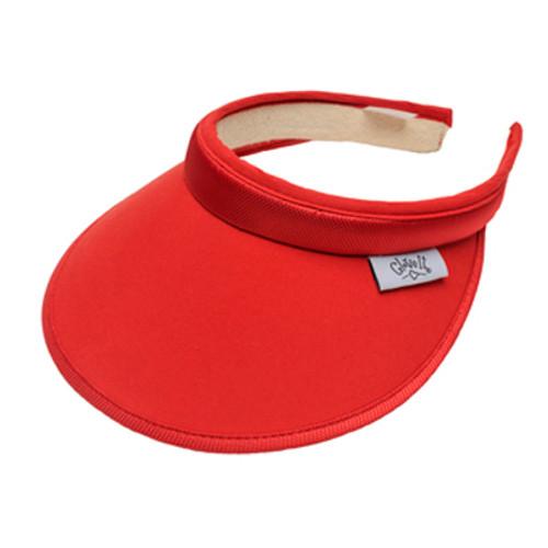 Glove It Ladies Solid Tennis Visors (Comfort Clip) - Solid Red