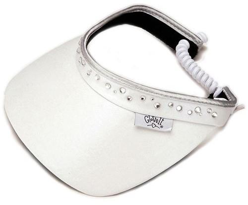 Glove It Ladies Bling Coil Back Tennis Visors (w/ Twist Cord) - White
