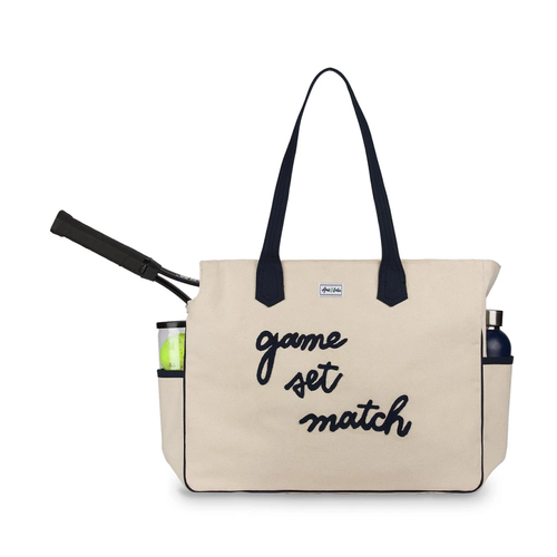 Ame & Lulu Ladies Love All Tennis Court Bags - Game Set Match Natural
