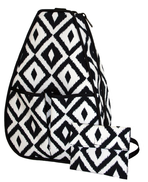 40 Love Courture Ladies Sophi Tennis Backpacks - Black & White Ikat with Black Interior Lining