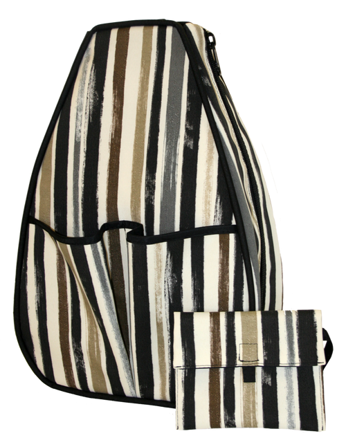 40 Love Courture Ladies Sophi Tennis Backpacks - Beach Stripe with Black Interior Lining