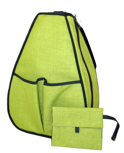 40 Love Courture Ladies Sophi Tennis Backpacks - Green Linen with Black Lining