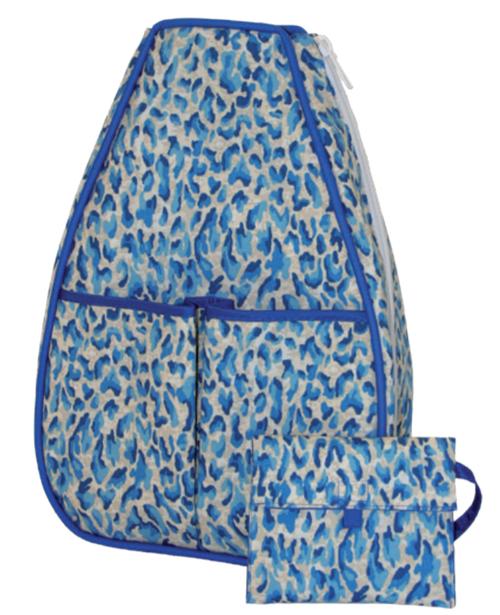 40 Love Courture Ladies Sophi Tennis Backpacks - Blue Cheetah with Royal Lining
