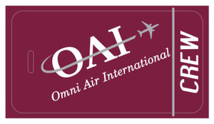 Omni Air International (red) logo crew tags