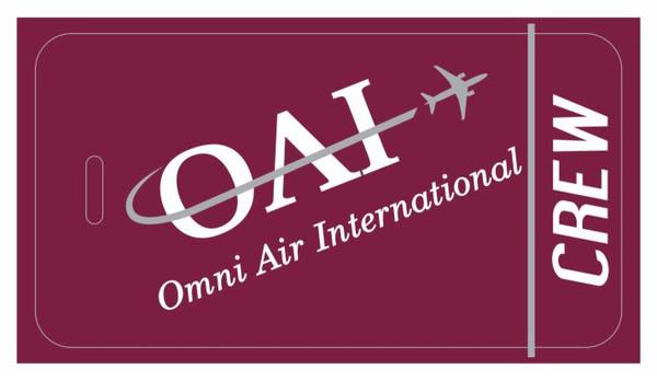 Omni Air International (red) logo crew tags