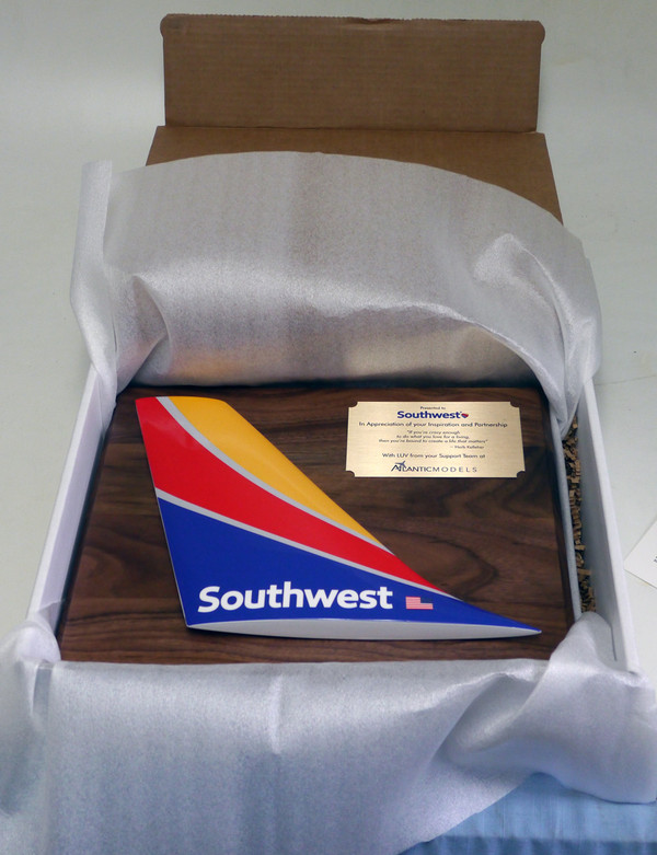 SW Tail plaque on standard walnut wood mount with brass dedication plaque
