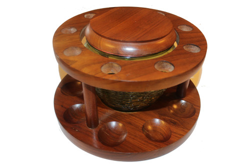 Vintage Wooden Pipe Stand with Humidor