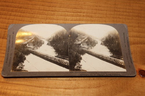 Stereoview Card - Boat in Canal, Norway