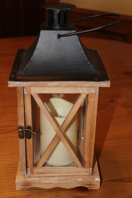 Hanging Wood and Tin Candle Lantern