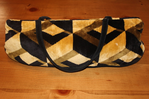 Vintage Offhand Designs Brown and Black Geometric Knitting Bag