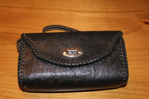 Vintage Black Leather Clutch with Twist Clasp