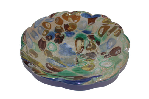 Fluted Edge 10 inch Round Shallow Art Glass Bowl