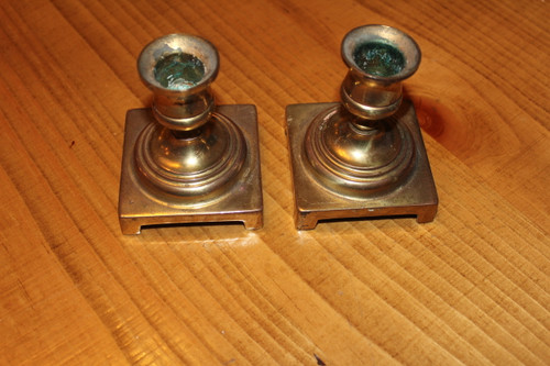 Pair Vintage Square Copper Candle Holders