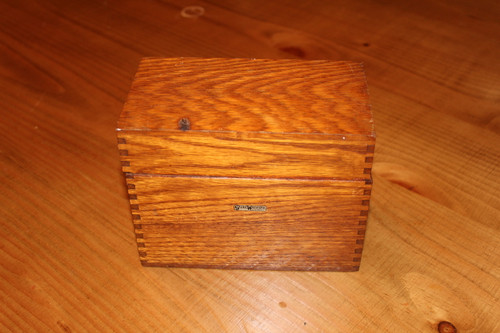 Vintage Globe Wernicke Wooden File Box with Index for 4 X 6 Cards