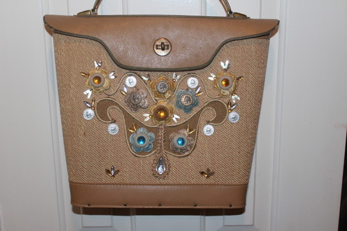Vintage Jeweled Flower Canvas Purse with Wood Bottom and Leather Handle
