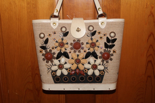 Vintage Flower Basket Canvas and Wood Bottom Purse by EC