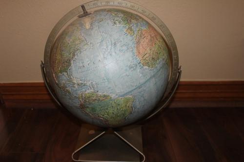 Vintage Cold War Era Replogle Globe with Metal Stand