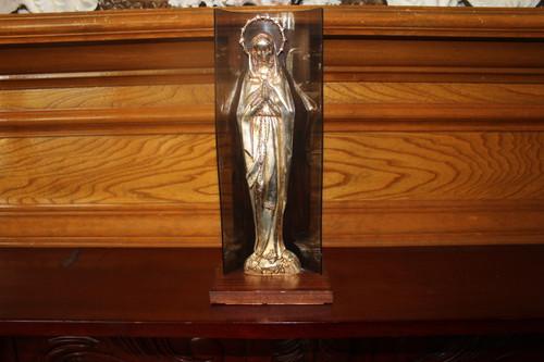 Vintage Metal statue of Mary, Mother of Jesus on Wood and Plexiglas Base