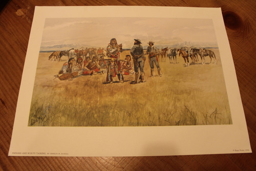 Indians and Scouts Talking By Charles M. Russell