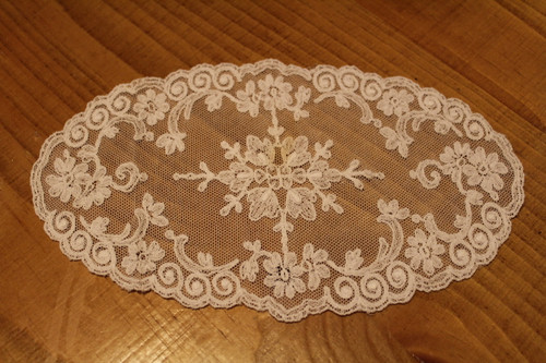 Vintage Oblong French Net Lace Doily for Embellishment or Trim