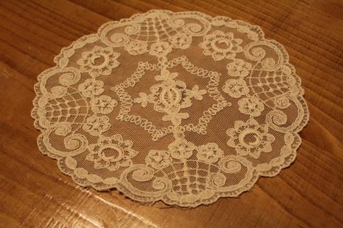 Vintage Round Ecru Net Lace Doily for Embellishment or Trim