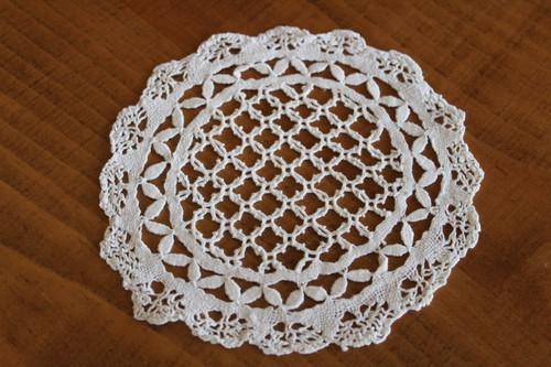 Vintage Round Off-White Venetian Doily for Embellishment or Trim