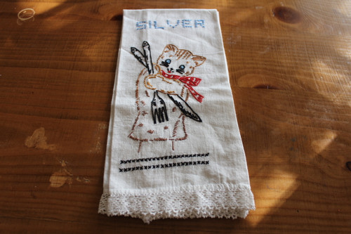 Vintage Silver Kitchen Towel with Lace Trim