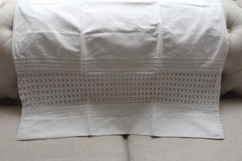 European Pillow Sham Lace / Linen Off White